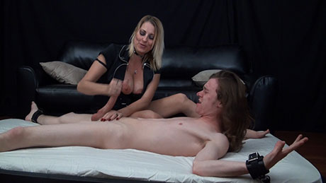 FemDom handjob videos featuring post orgasm abuse of cocks in bondage on HandDomination.
