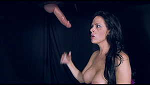 FemDom gloryhole blowjob video performed by Mistress Arianna on an unknown cum filled cock featured on HandDomination.