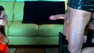 FemDom blowjob video performed by beautiful spanish model Eve Rosario on a restrained cum filled cock featured on HandDomination.