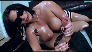 FemDom handjob video performed by cheating wife Kim Carter on a restrained cum filled cock featured on HandDomination.