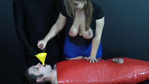 FemDom cuckold handjob video performed by busty MILF Lexxxi Lockhart on 2 cum filled cocks featured on HandDomination.